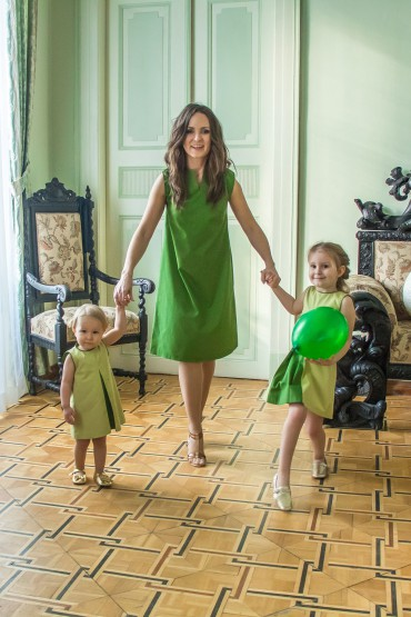Sukienki dla mamy i córki zielone