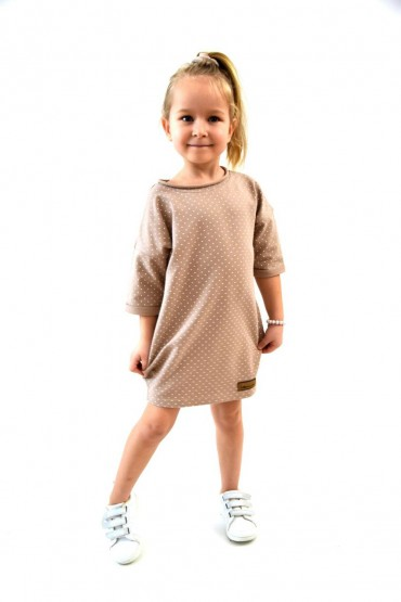 Dresowa tuniko-sukienka dla dziewczynki beżowa w kropki