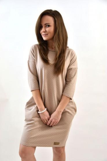 Damska beżowa tuniko- sukienka w kropki