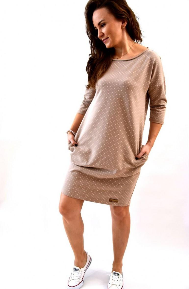 2Damska beżowa tuniko- sukienka w kropki