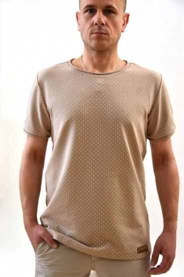Casualowy T-shirt męski beżowy w kropki