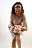 2Casual'owa opaska na głowę damska i dziewczęca, beżowa w kropki