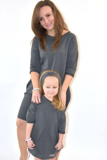 Dresowe sukienki typu tunika dla mamy i córki - szare w kropki