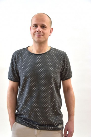 Casualowy T-shirt męski szary w kropki