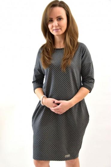 Damska szara tuniko- sukienka w kropki