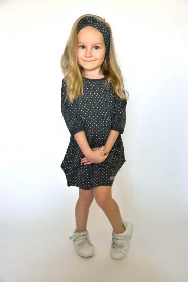 Dresowa tuniko-sukienka dla dziewczynki szara w kropki