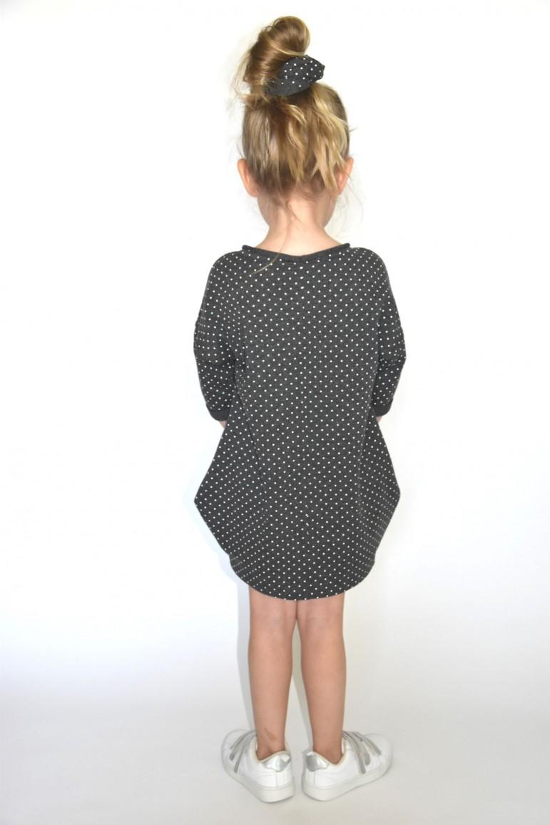 2Dresowa tuniko-sukienka dla dziewczynki szara w kropki