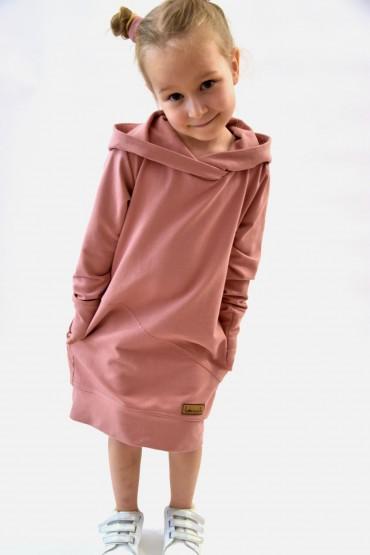 Przedłużona bluza, sportowa sukienka - pudrowy róż