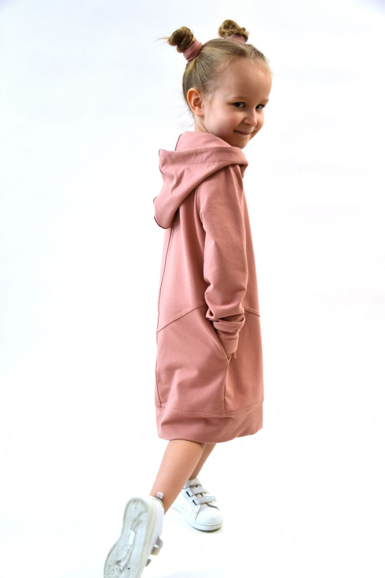 2Przedłużona bluza, sportowa sukienka - pudrowy róż