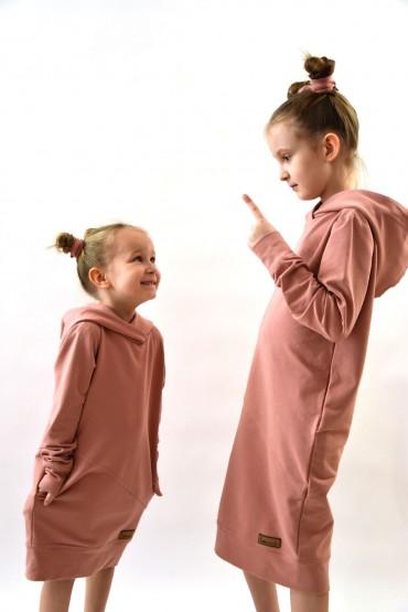 Zestaw bluz z kapturem/dresowych sukienek  dla dziewczynek