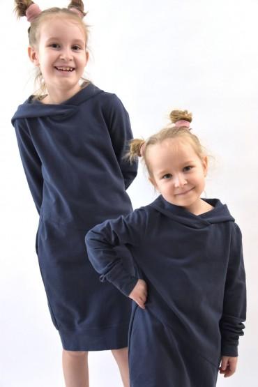 Zestaw bluz z kapturem/dresowych sukienek dla dziewczynek- sprany jeans
