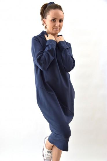 Przedłużona bluza, sportowa sukienka  z kapturem, wersja długa  - sprany jeans