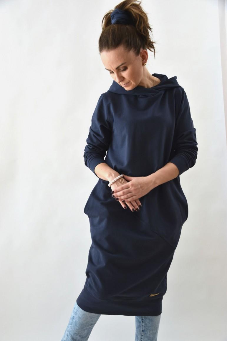 2Przedłużona bluza, sportowa sukienka  z kapturem, wersja długa  - sprany jeans