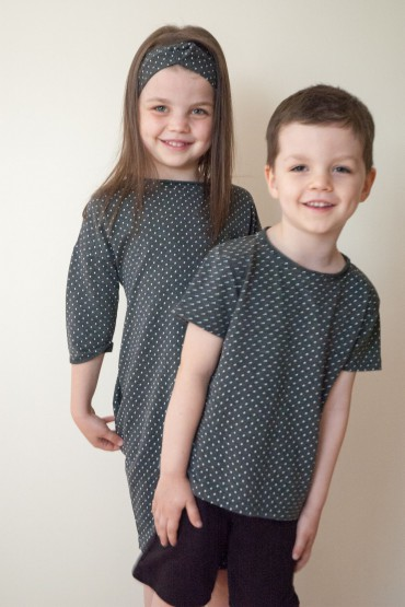 Zestaw dla brata i siostry - T shirt i tunika w kropki