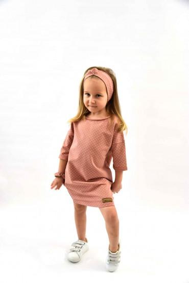 Dresowa tuniko - sukienka dla dziewczynki - pudrowy róż