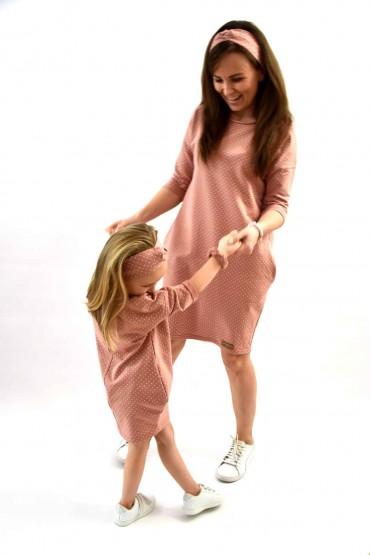 Dresowe sukienki typu tunika dla mamy i córki - pudrowy róż