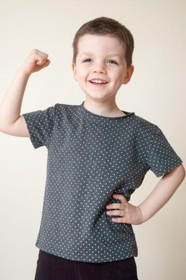 T shirt dla chłopca - szary w kropki