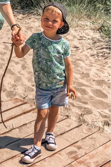 copy of T shirt dla chłopca - beżowy w kropki
