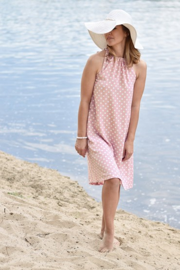 copy of TRAPEZOID PINK POLKA DOT DRESS