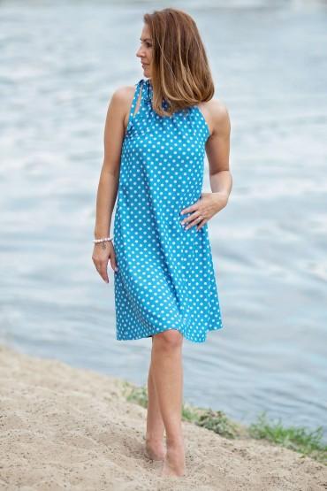 Trapezowa sukienka w białe grochy z paskiem - niebieski morski