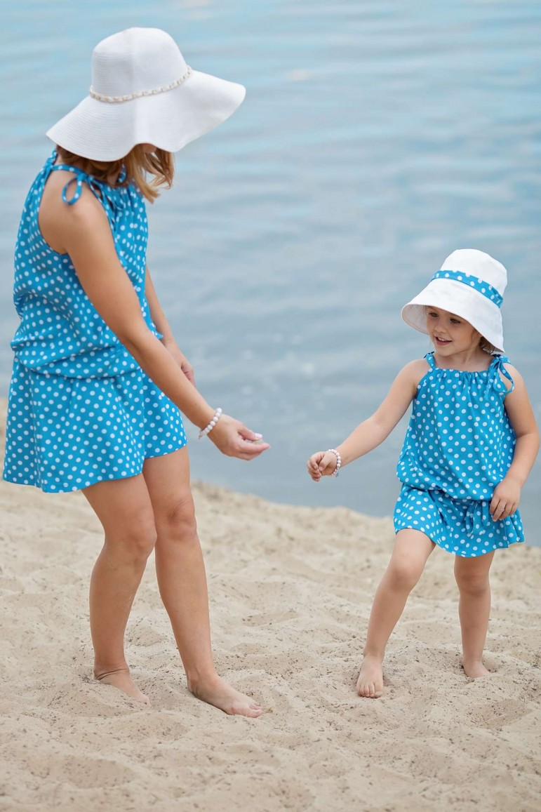 2SET OF TRAPEZOID BLUE POLKA DOT DRESSES FOR MOTHER AND DAUGHTER