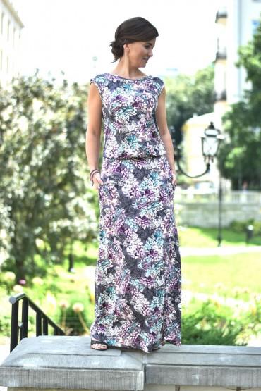 Damska sukienka maxi w kwiaty z dekoltem na plecach