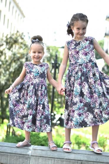 Zestaw sukienek dla siostrzyczek w kwiaty, z dekoltem na plecach