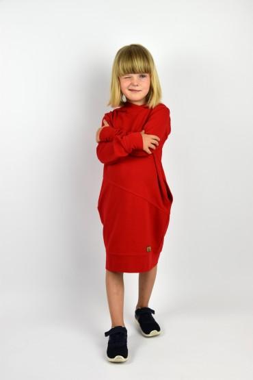 Przedłużona bluza z kapturem, sportowa sukienka - głęboka czerwień