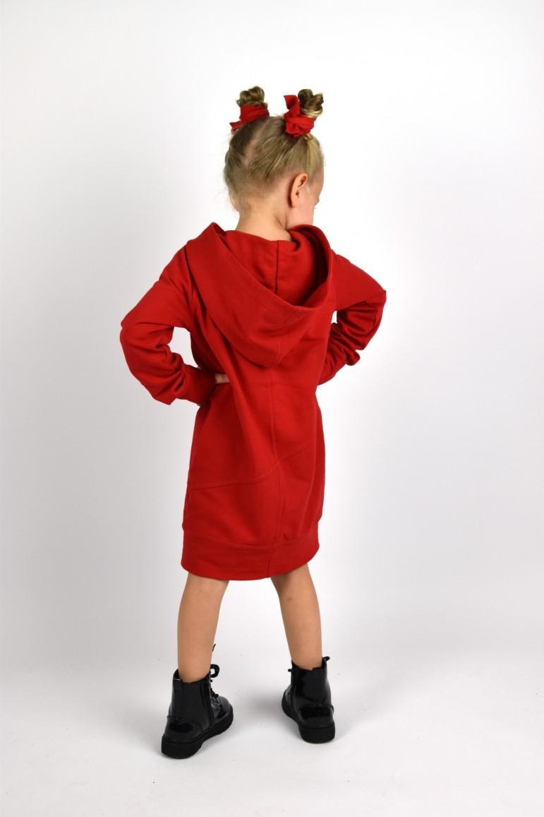 2Przedłużona bluza z kapturem, sportowa sukienka - głęboka czerwień