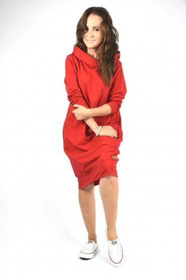 Przedłużona bluza z kapturem, sukienka z kapturem - głęboka czerwień