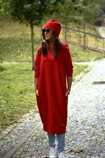 Przedłużona bluza z kapturem, sportowa sukienka, wersja długa - głęboka czerwień