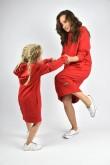 2Przedłużone bluzy dla mamy i córki - głęboka czerwień