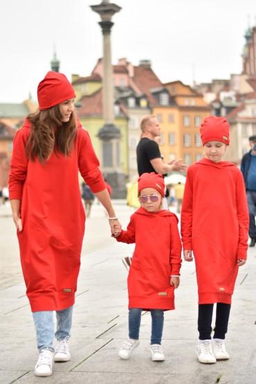 Przedłużone bluzy dla mamy i córki - głęboka czerwień