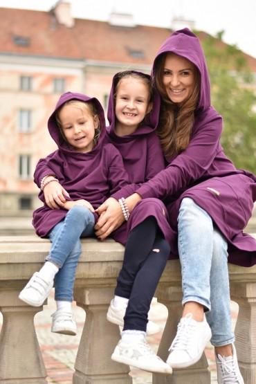 PRZEDŁUŻONE BLUZY DLA MAMY I CÓRKI - EKSTRAWAGANCKI FIOLET