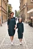 2PRZEDŁUŻONE BLUZY DLA MAMY I CÓRKI - BUTELKOWA ZIELEŃ