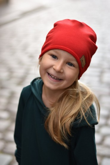 Czapka unisex - dla dziewczynki i chłopca - głęboka czerwień