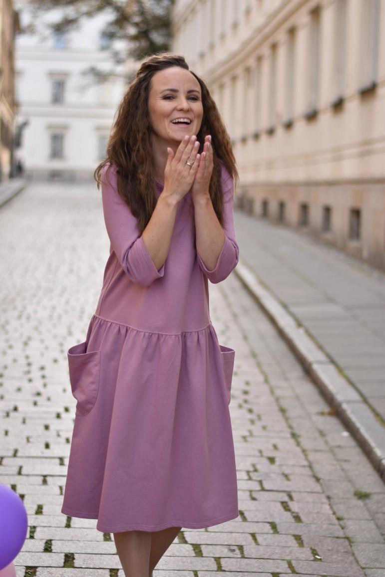 2copy of Sukienka damska z dużymi kieszeniami - zielona