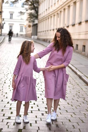 Sukienki dla mamy i córki z kieszeniami - lila róż