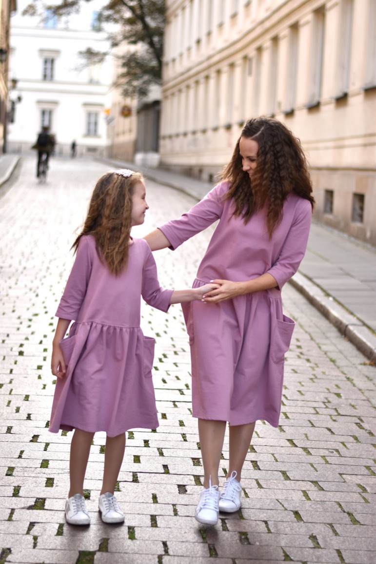 2copy of Sukienki dla mamy i córki z kieszeniami - zielone
