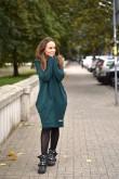 2Damska tunika, sukienka z kapturem - Butelkowa Zieleń