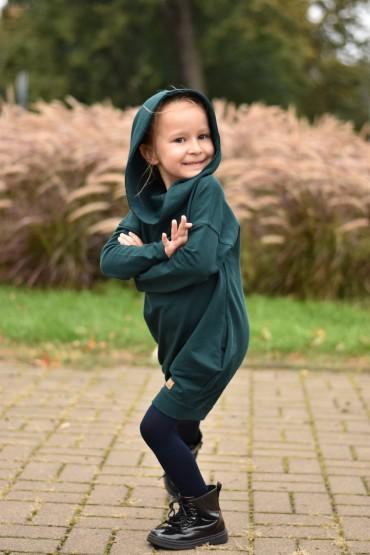 Dresowa tunika z kapturem dla dziewczynki - butelkowa zieleń