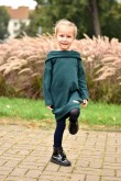 2Dresowa tunika z kapturem dla dziewczynki - butelkowa zieleń