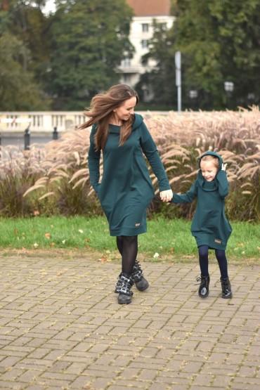 Tuniko-sukienka dla mamy i córki z kapturem - butelkowa zieleń