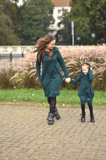 copy of Tuniko-sukienka dla mamy i córki z kapturem - zieleń