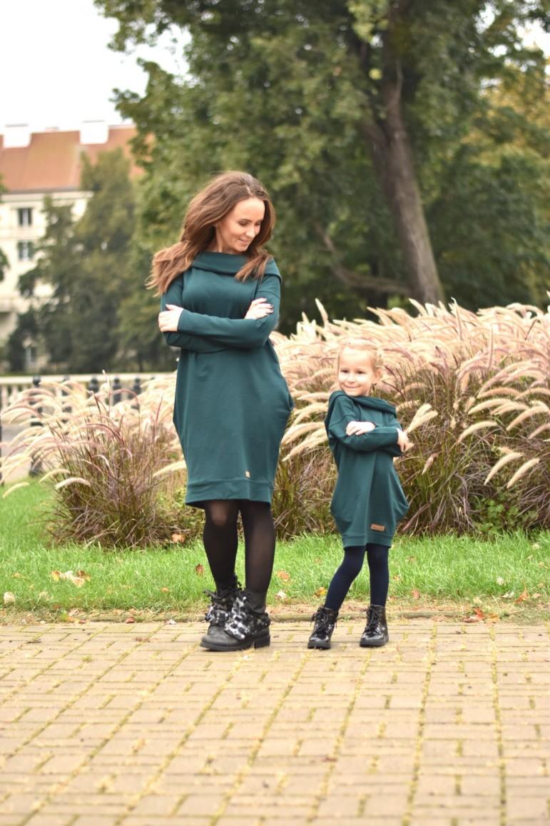 2copy of Tuniko-sukienka dla mamy i córki z kapturem - zieleń