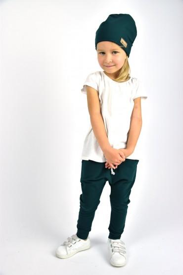 Spodnie baggy dla chłopca i dziewczynki - butelkowa zieleń