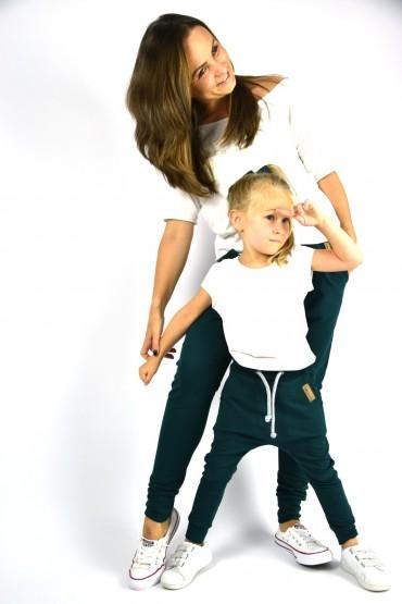 Spodnie dla mamy i córki lub syna - Butelkowa zieleń
