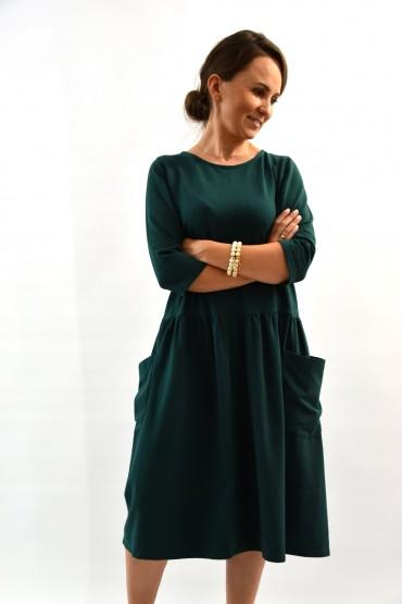 Sukienka damska z dużymi kieszeniami - zielona