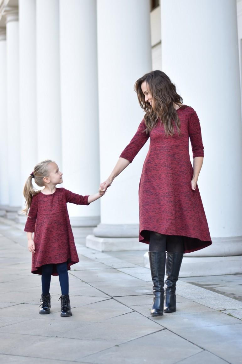 2copy of Komplet sukienek dla mamy i córki z przedłużonym tyłem - Burgund