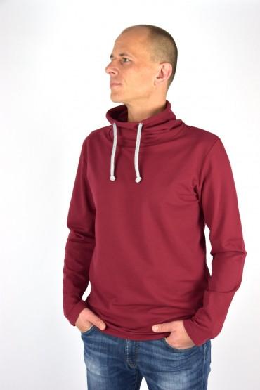 Męska bluza z kominem - burgund